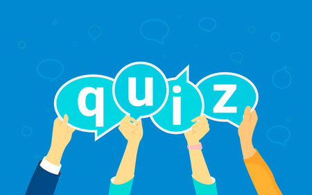 telephone interview: Quiz flat concept vector illustration of young people like answering questions online. Flat human hands hold quiz big speech bubbels with letters on blue background