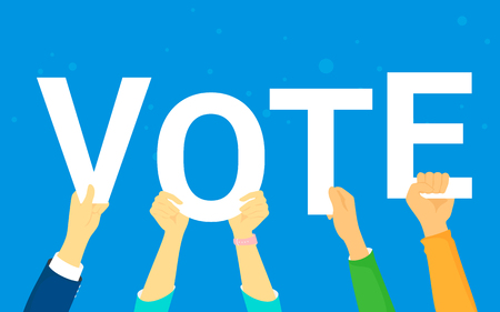Vote and opinion poll concept vector illustration of young people happy voting