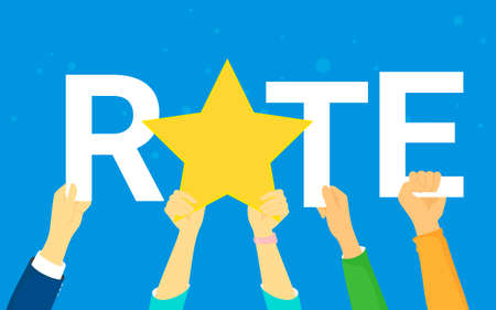 Rating star concept illustration of happy young people rate services and user experience.