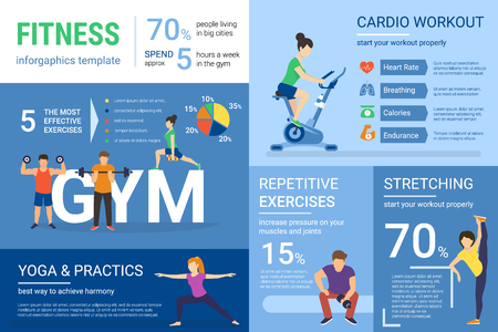 Fitness infographics illustration of people doing workout with graph and diagram