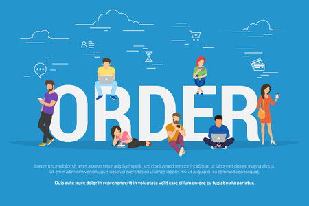 Online order concept vector illustration of people ordering and purchasing goods