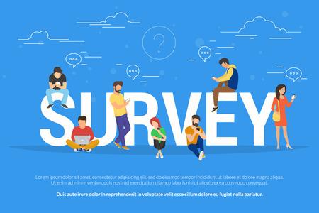 Online enquête concept vectorillustratie van mensen met behulp van laptop en smartphone mobiele app voor het vervullen van checklist of het verlaten van een feedback voor online service. Platte jongens en jonge vrouwen in de buurt van grote letters