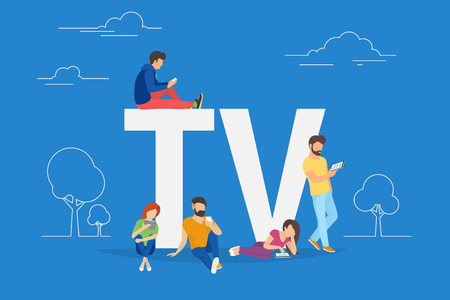 Mobile tv concept vector illustration of young people using mobile smartphone and tablets apps for watching tv shows and using streaming services. Flat guys and women standing near letters TV on blue Illustration