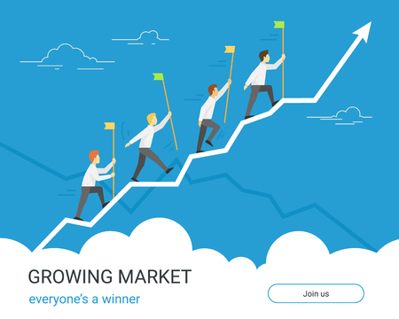 Growing markets for winners. Business graph growth concept flat vector illustration of professional people with flags going together along growing arrow. Investors and traders achieve the goals