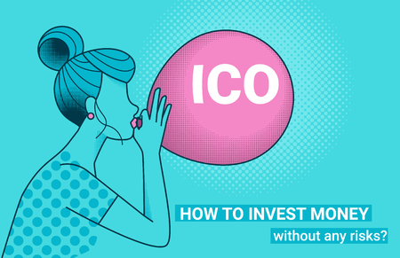 ICO fraud conceptual design how to invest money without risks. Initial coin offering concept vector illustration of young woman with big air balloon with ICO letters as a financial bubble and scam. Stock Illustratie