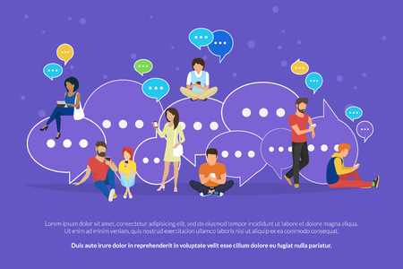 Speech bubbles for online texting and messaging concept flat vector illustration of young people using mobile smartphone and tablet for chatting and communicating. Guys and women sitting on bubbles Stok Fotoğraf - 95004655