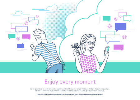 Young girl and guy behind her standing in the park and texting flirting messages to each other. Vector outlined modern illustration of networks communication and texting to friends via smartphone app Vectores