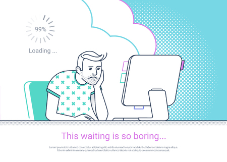 Tired and bored man is working with computer. Flat fun line vector illustration. Illustration