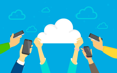 Cloud sync concept vector illustration of young men and women using smartphones happy downloading apps from cloud storage. Flat human hands hold cloud sign on blue background