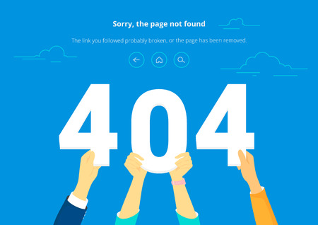 404 letters concept vector illustration of error page not found. Illustration