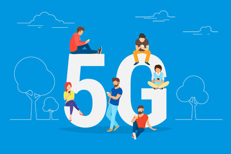 Flat people with gadgets sitting on the big 5G symbol. Addicted to networks people concept illustration of young men and women using high speed wireless connection 5G via mobile smartphone. Vettoriali