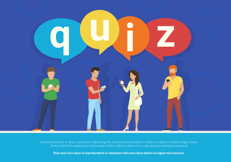 Quiz flat concept vector illustration of young people using mobile smartphone for texting, messaging and answering questions online with quiz big colored bubbles on blue background with copyspace Illustration