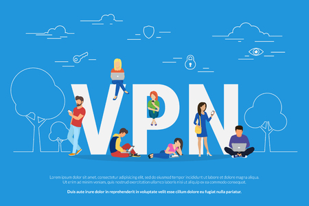 VPN concept vector illustration of young people using mobile gadgets such as laptop and smartphone via virtual private networks. 일러스트
