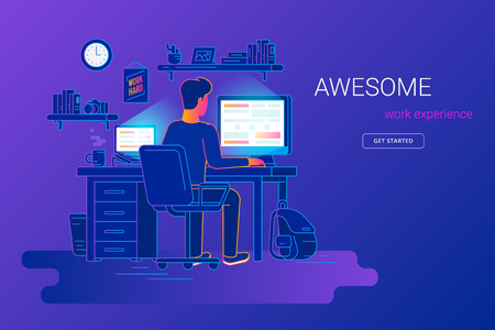 Man working with pc at his work desk and testing ui and ux. Gradient line vector illustration of student studying at home. Young guy working with computer and laptop at home on violet background Иллюстрация