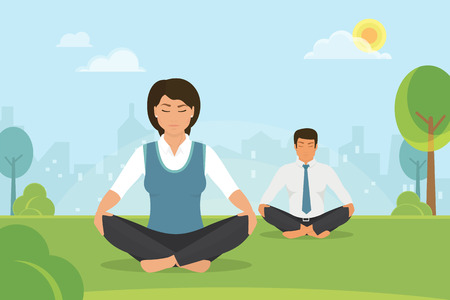 Flat vector illustration of calm woman and man doing meditation in the lotus position in the park on the green field. People relaxing and meditating alone with nature after hard work ing day Ilustração