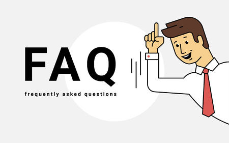 Frequently asked questions concept vector illustration of young smiling man gesturing hands to letters faq.