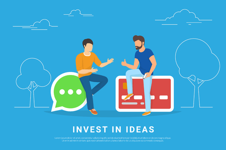 Invest in ideas concept vector illustration of two young men talking about new business idea. Flat people sitting on speech bubble and credit card symbols. Business header for startup or project