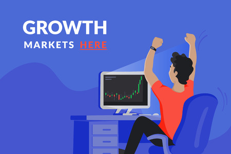 Happy investor sitting at his home workdesk and looking at computer screen with growing market graph and rejoices of increasing the deposit. Growth market cover for cryptocurrency networks and news