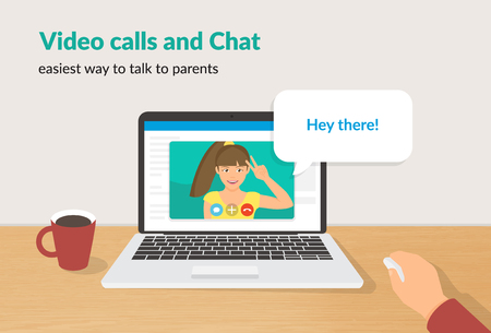 Video calls and chat concept flat vector illustration of happy girl talking to her parent on laptop screen with speech bubble for message. Distance video calling and online communication for people