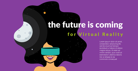 Excited woman wearing vr helmet for space simulation and digital gaming into her head. The future is coming for virtual reality flat vector illustration of innovation hi-tech equipment and users. Standard-Bild - 102559770