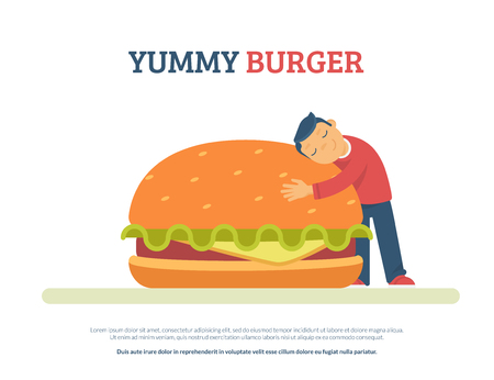 Yummy burger concept flat vector illustration of funny boy lovely hugging a big hamburger. Isolated on white background with copyspace for text Standard-Bild - 102559805