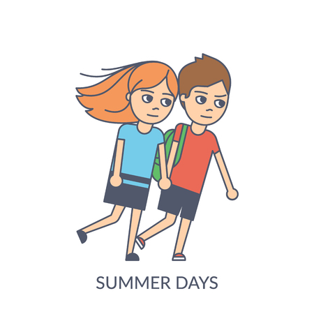 Summer couple. Cartoon flat vector illustration of young girl and boy holding hands and walking together in windy weather. Smiling teenagers isolated on white background