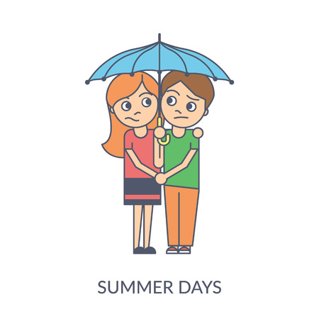 Summer couple. Cartoon flat vector illustration of young girl and boy holding hands and standing under umbrella together. Smiling teenagers isolated on white background Standard-Bild - 102559807