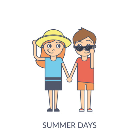 Summer couple. Cartoon flat vector illustration of young girl and boy holding hands and looking to each other wearing summer hat and sunglasses. Flirting teenagers isolated on white background Standard-Bild - 102559808