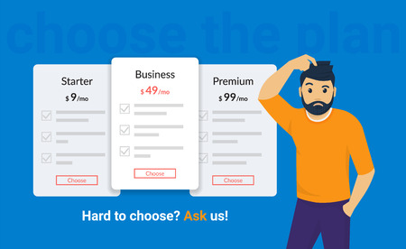 Hard to choose subscription or payment plan, ask us for help. Man standing near pricing panels and needs a help. Flat vector illustration of people who has problem choosing different types of payment