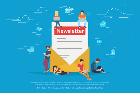 Envelope with a newsleter concept vector illustration of young man and woman receiving commercial letters and promotion offers on laptop, digital tablets and smart phones. Flat newsletter subscribers Standard-Bild - 102559823