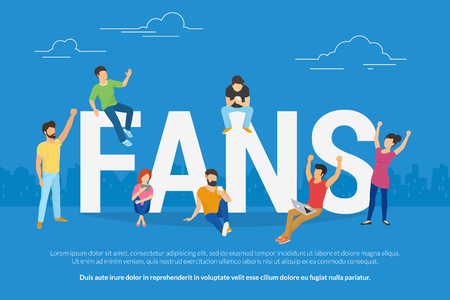 Football fans watch a game online sitting on big letters. Flat people using laptop and smartphone for watching football games gesturing hands up and joying the winner. Standard-Bild - 102559822