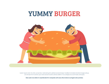 Yummy burger concept flat vector illustration of funny boy and girl lovely hugging a big hamburger. Happy friends hugging burger isolated on white background with copyspace for promo text Standard-Bild - 104432888