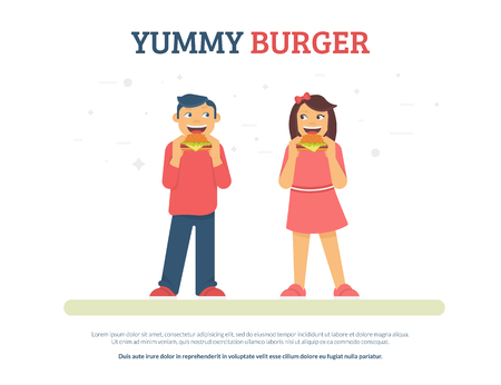 Yummy burger concept flat vector illustration of funny boy and girl eating burgers. Happy friends standing with junk food isolated on white background with copyspace for promo text Standard-Bild - 104432889