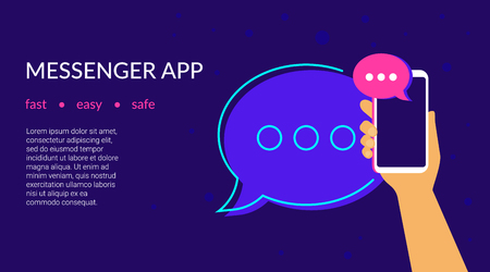 Mobile messenger app for texting messages to friends. Concept flat neon vector illustration of human hand holds smartphone with speech bubble on application for texting, sharing news and community Standard-Bild - 104432891