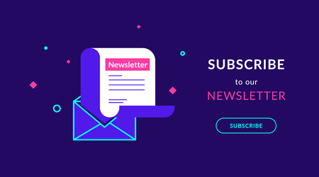 Subscribe to our weekly newsletter flat vector neon illustration for ui ux web design with text and button. Newsletter template in open envelope on violet background and bright symbols around Standard-Bild - 104432892
