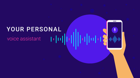Personal assistant and voice recognition on mobile app. Concept flat vector illustration of human hand holds smartphone with microphone button on screen and voice and sound imitation lines Standard-Bild - 104645849