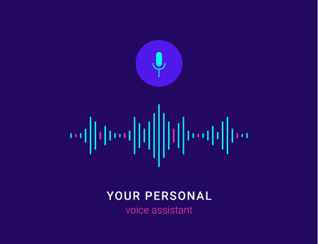 Personal assistant and voice recognition concept flat vector illustration of sound symbol intelligent technologies. Microphone button with bright voice and sound imitation lines Standard-Bild - 104645850