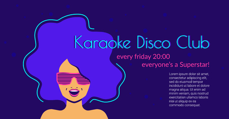 Karaoke disco club flat neon vector illustration of singing woman wearing glasses on violet background with copyspace for text. Bright neon design for poster or promotion flyer Standard-Bild - 104645851