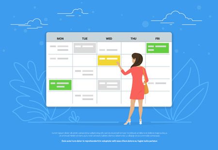Schedule planning concept illustration of young woman standing near big calendar and planning her working week. Flat design of people fullfilling their work schedule for effective management Standard-Bild - 104645852