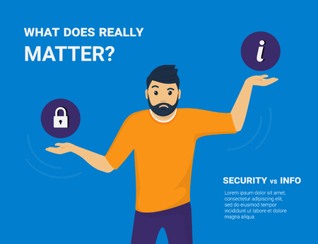 What does really matter. Young man comparing information security and public access to information and he needs to choose one. Flat concept vector illustration of imbalance and on blue background Illustration