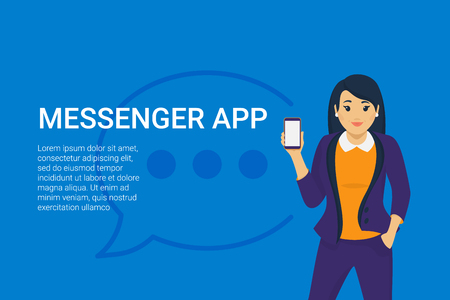 Mobile messenger app for texting messages to colleagues. Concept flat vector illustration of young business woman holds smartphone with speech bubble for corporate texting and sharing projects data Standard-Bild - 104645854