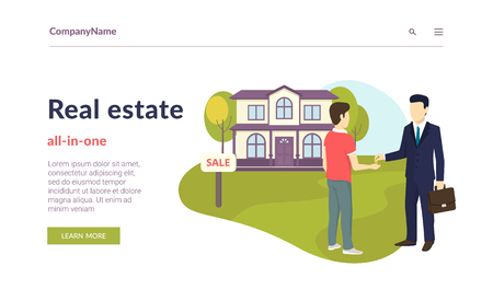 Realtor giving a home key chain to a confident male buyer. Flat concept vector website template and landing page design of succes deal, real estate and apartments invetments Standard-Bild - 104584489