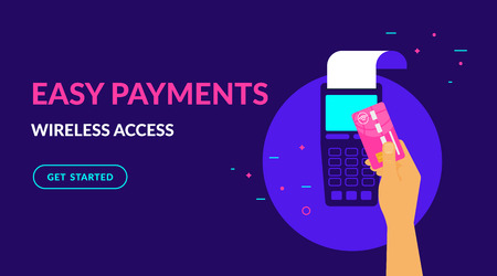 Pay by credit card wirelessly and easy flat vector neon illustration for ui ux web design with text and button. Illustration of wireless mobile payment by credit card via POS terminal. Standard-Bild - 104283092