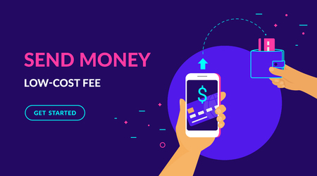 Send money low-cost fee flat vector neon illustration for ui ux web and mobile design with text and button. Man is sending money from credit card to his friend wallet via mobile app on smart phone Standard-Bild - 115044209