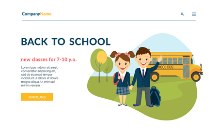 Back to school illustration of two happy pupils wearing uniform and bus behind them. Flat concept vector website template and landing page design of preschool classes and courses enrolling services Standard-Bild - 115044210