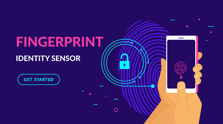 Fingerprint identity sensor flat vector neon website template and landing page design of digital fingerprint identification on smartphone. Human hand holds gadget with biometric scanning technology Standard-Bild - 115044211