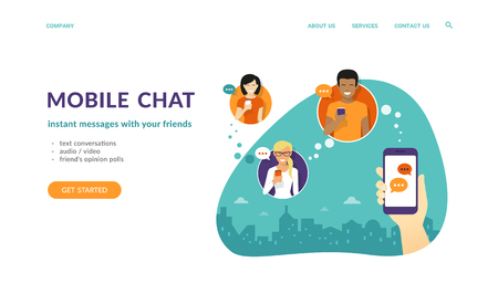 Human hand hold a smartphone and sending messages to friends via mobile messenger app. Flat concept vector website template and landing page design of mobile chat and text conversations Standard-Bild - 104425740
