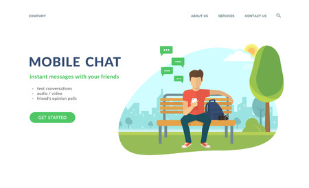 Young man sitting in the street or park and sending message via chat to someone using his smartphone. Flat concept vector website template and landing page design of mobile chat and text conversations Standard-Bild - 104425741