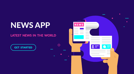 Online reading latest news. Flat vector neon website template and landing page design of online reading news using smartphone mobile app. Human hand holds smartphone and reading daily newspaper Standard-Bild - 104425743