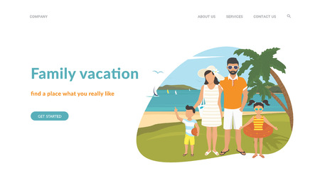 Happy family on vacations illustration flat design. Flat concept vector website template and landing page design of parents with kids in the tropical beach near blue sea and two palm trees behind them Standard-Bild - 115007237